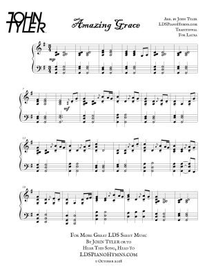Amazing Grace Sample Page arr by John Tyler - LDSPianoHymns.com