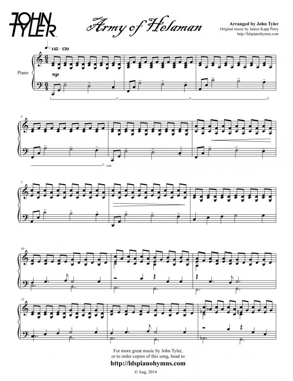 Army of Helaman Sample Page arr by John Tyler - LDSPianoHymns