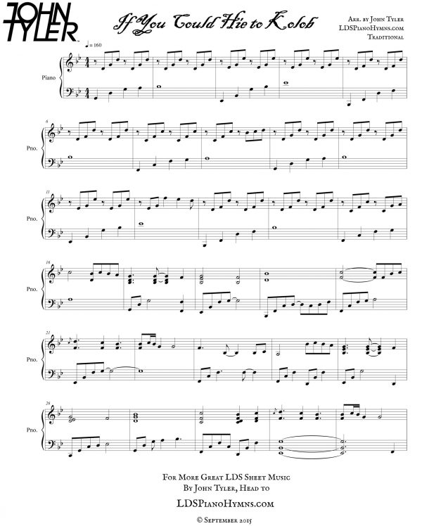 If You Could Hie to Kolob Sample Page arr by John Tyler